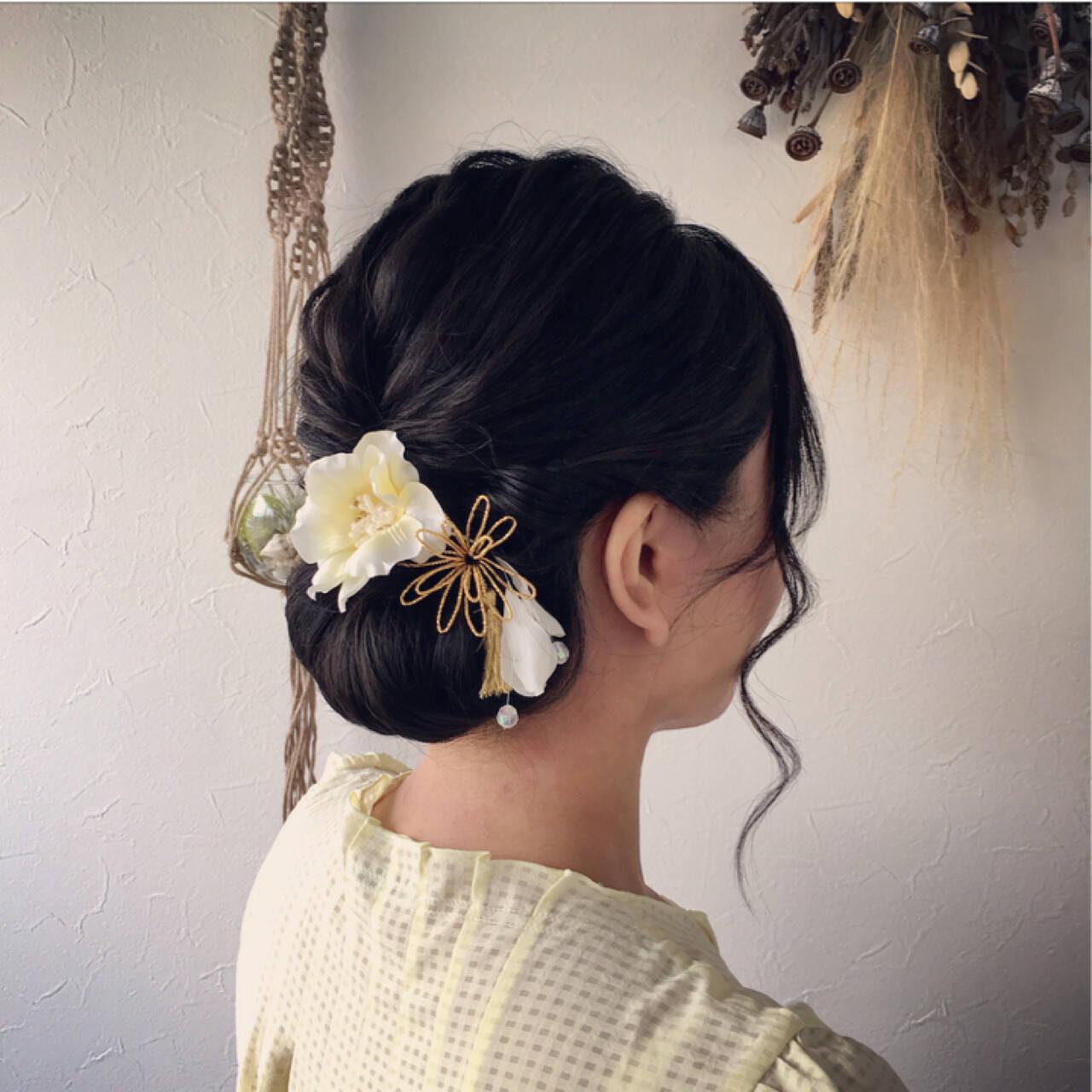 色気 夏 シニヨン 和装ヘアスタイルや髪型の写真・画像