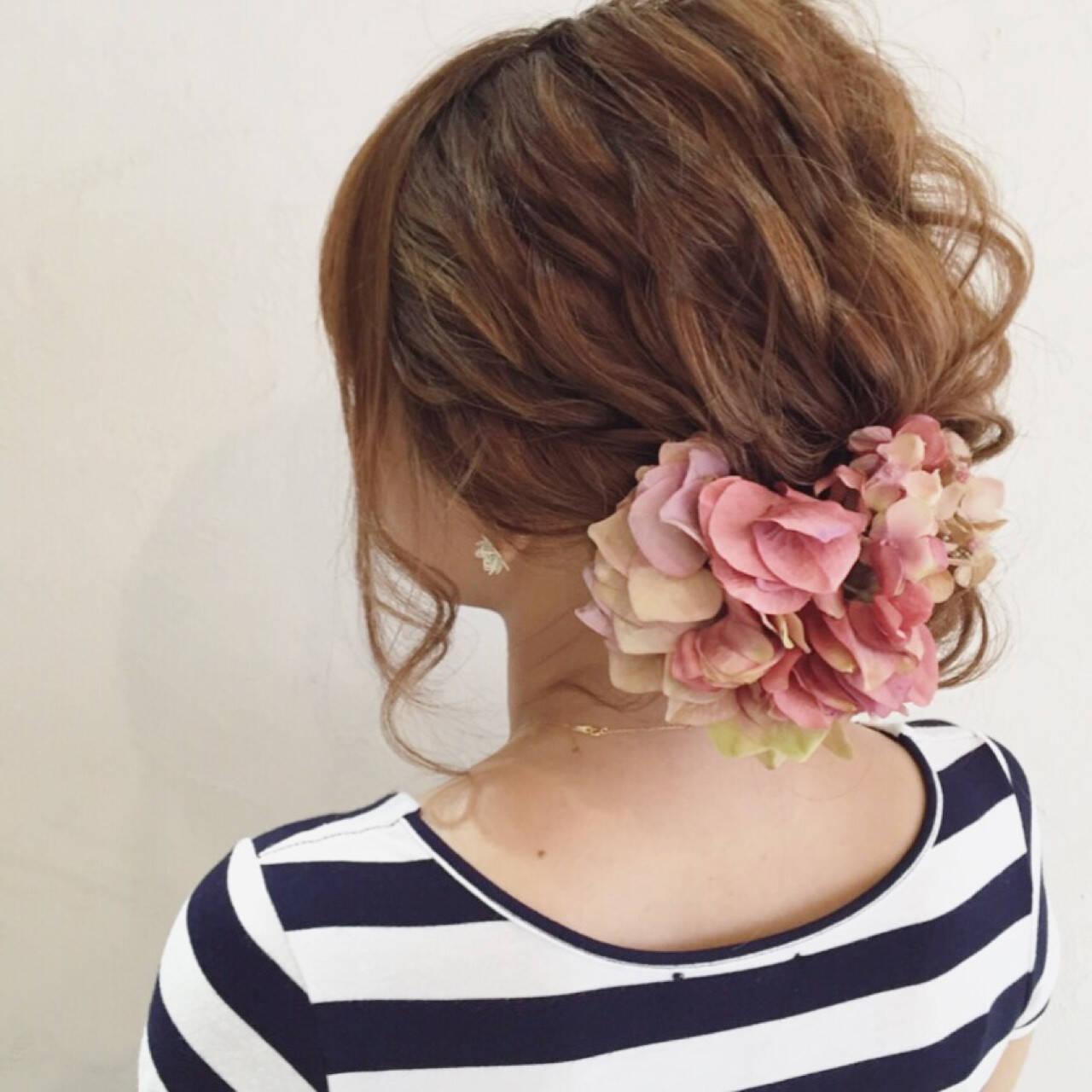 花火大会 ロング アップスタイル 夏ヘアスタイルや髪型の写真・画像