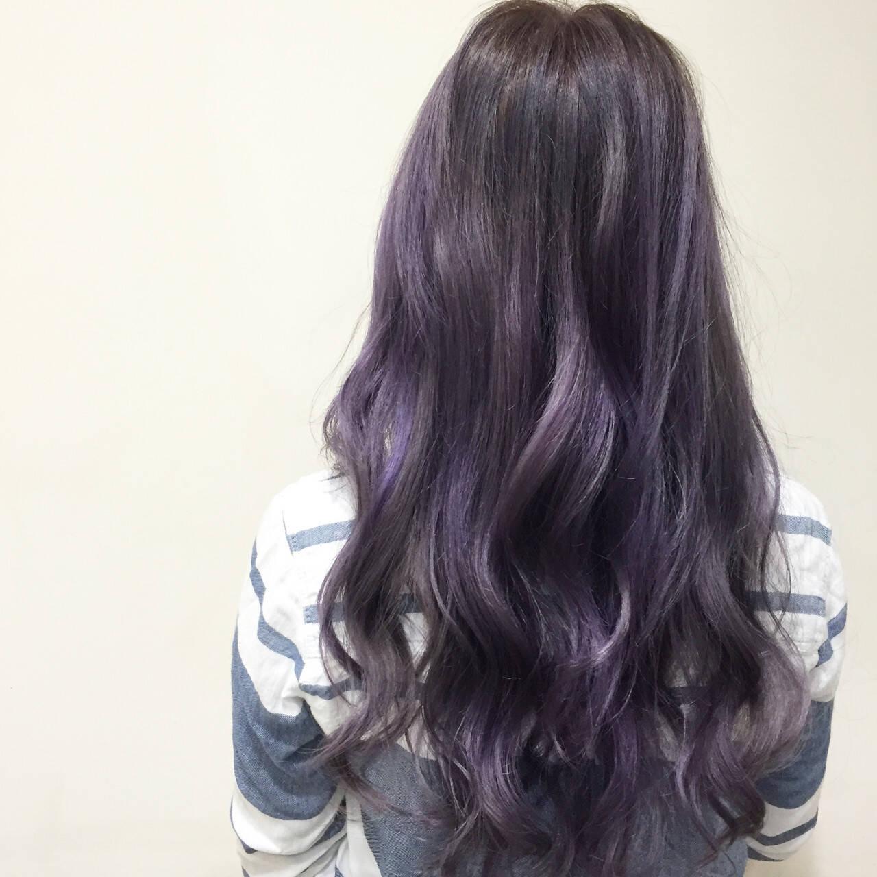 ハイライト グラデーションカラー パープル ガーリーヘアスタイルや髪型の写真・画像