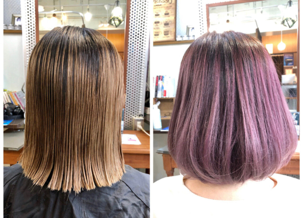 ピンク ミニボブ 切りっぱなしボブ ラベンダーピンクヘアスタイルや髪型の写真・画像