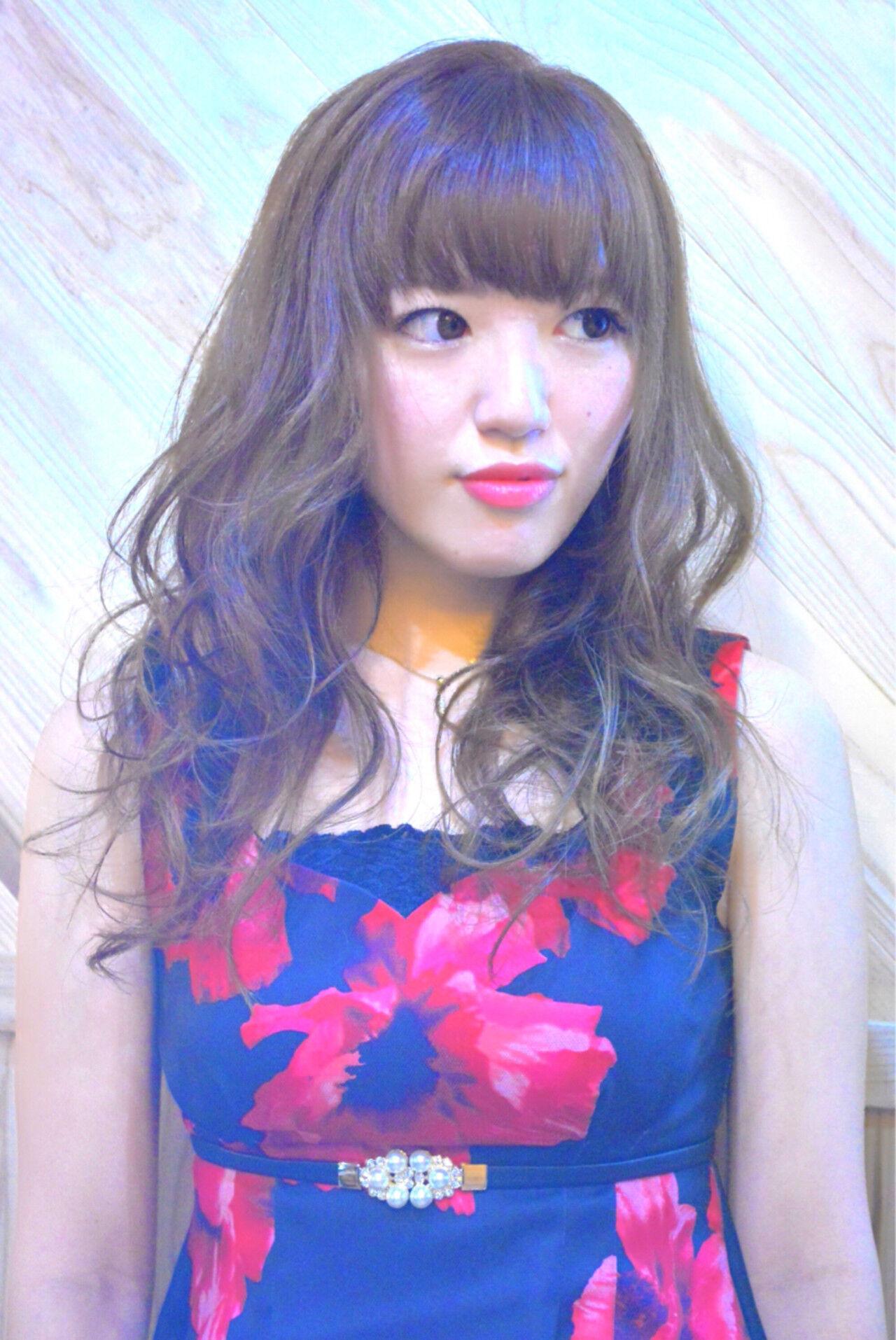 ガーリー ゆるふわ ロング 渋谷系ヘアスタイルや髪型の写真・画像