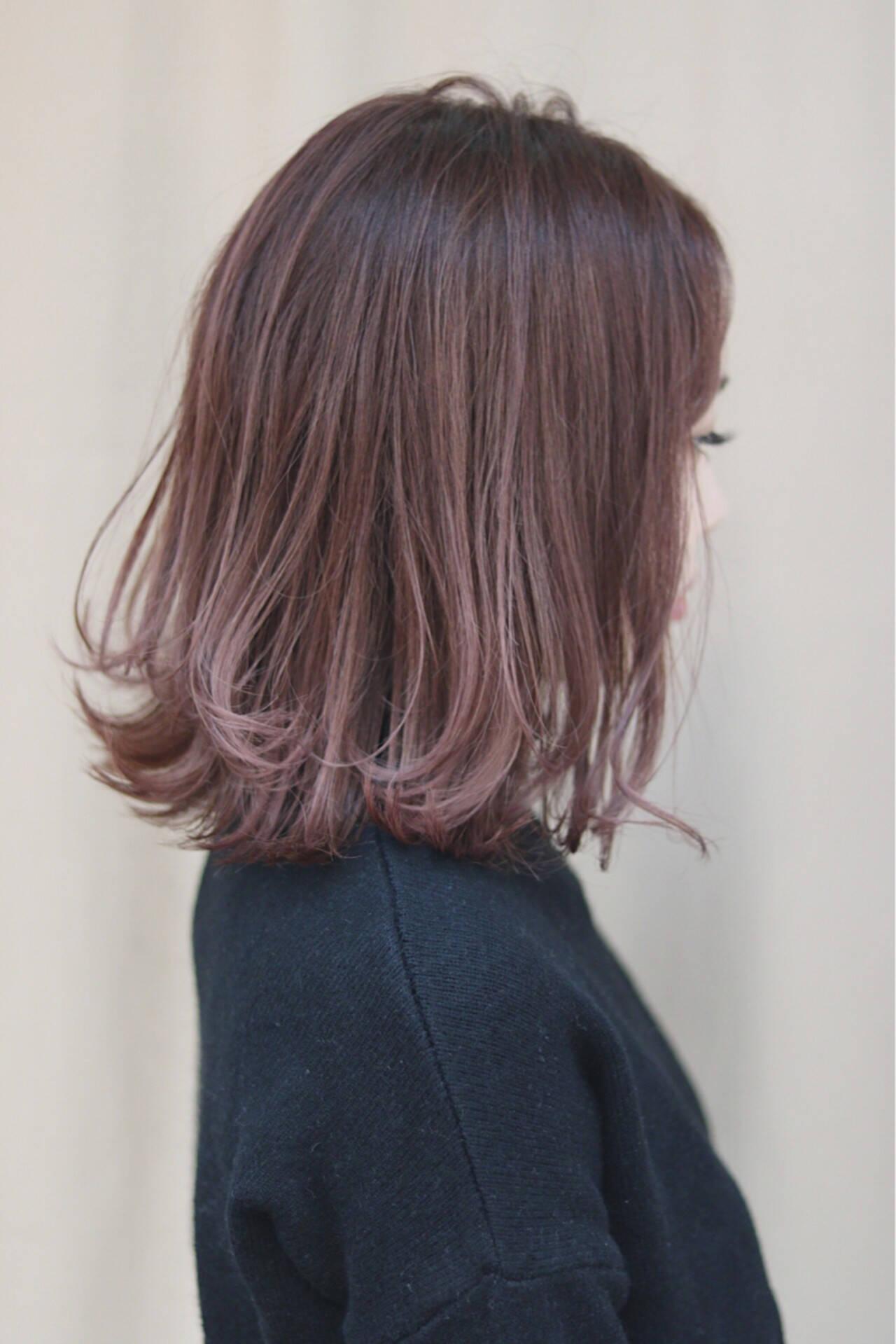 ミディアム オルチャン イルミナカラー デートヘアスタイルや髪型の写真・画像