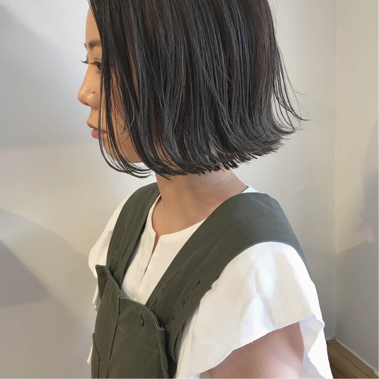 ショートボブ ボブ 切りっぱなし 外ハネヘアスタイルや髪型の写真・画像