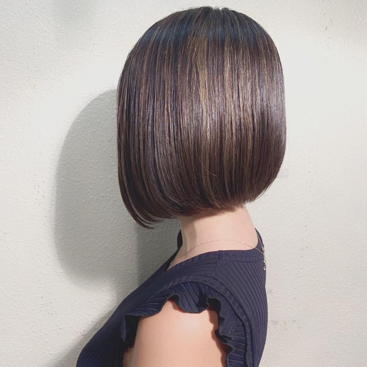前下がりボブ ハイライト モテボブ ボブヘアスタイルや髪型の写真・画像