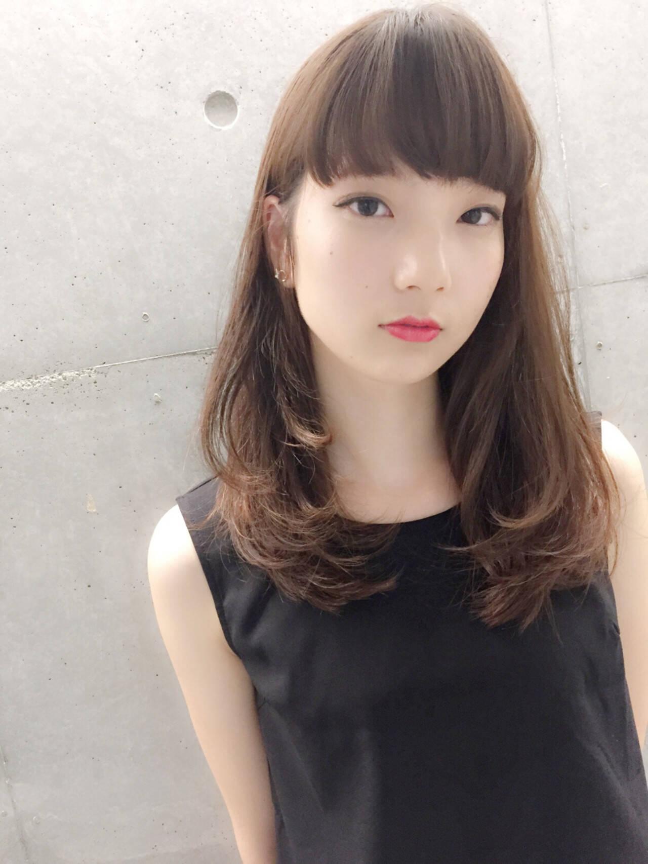 ロング 暗髪 モード 外国人風ヘアスタイルや髪型の写真・画像