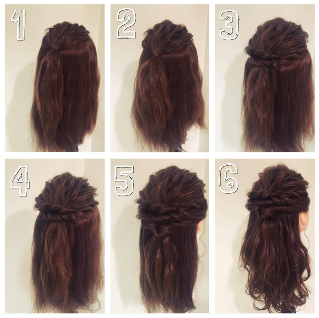 簡単ヘアアレンジ ヘアアレンジ ショート セミロングヘアスタイルや髪型の写真・画像