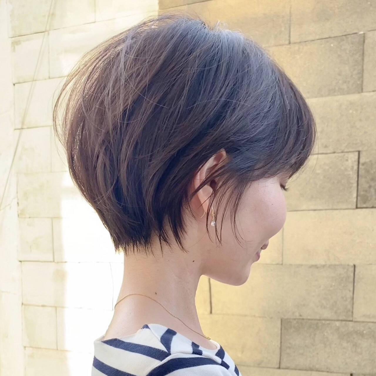 ショート ナチュラル ショートボブ ミルクティーベージュヘアスタイルや髪型の写真・画像