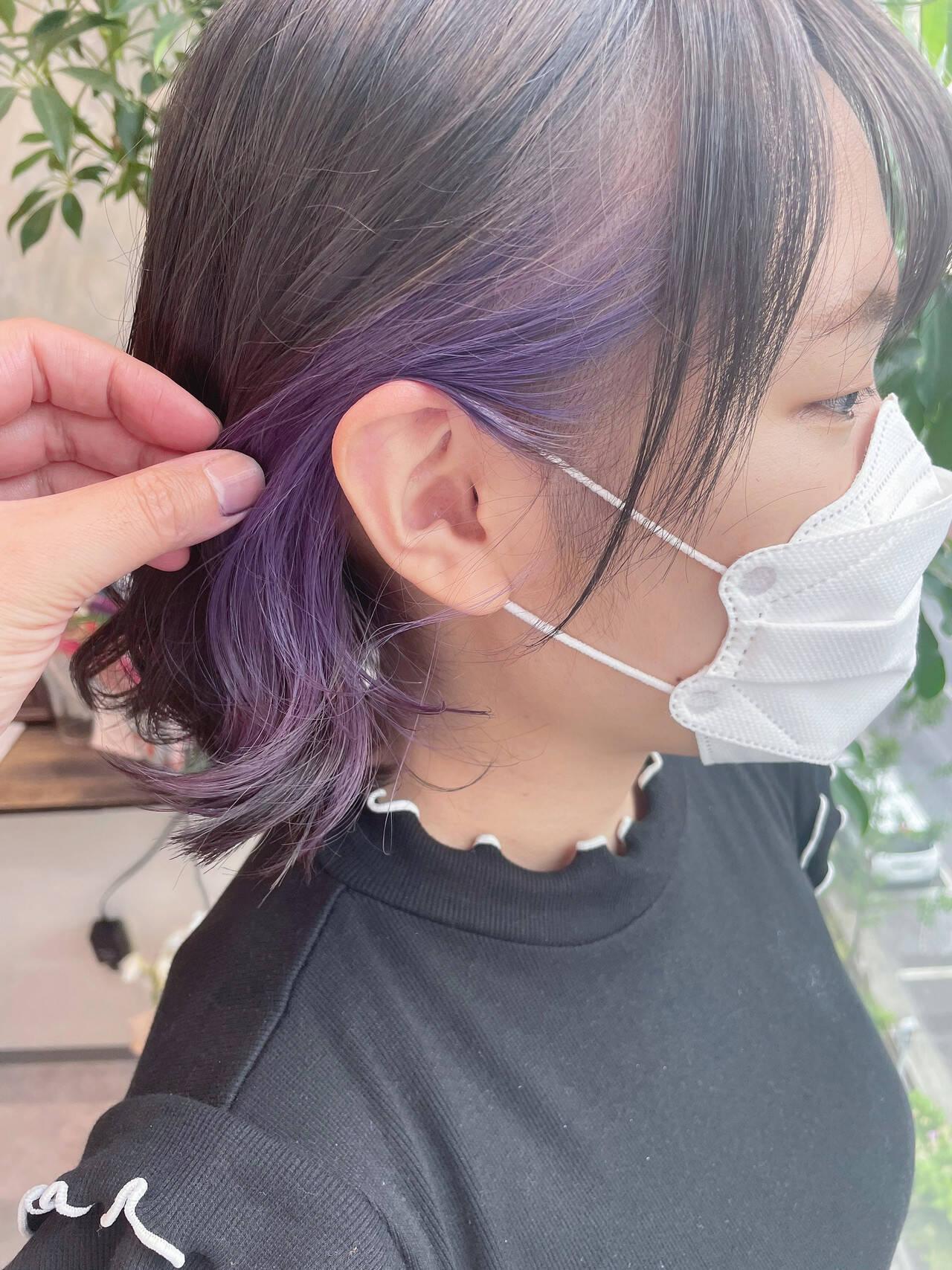 バイオレット ガーリー イヤリングカラー ボブヘアスタイルや髪型の写真・画像