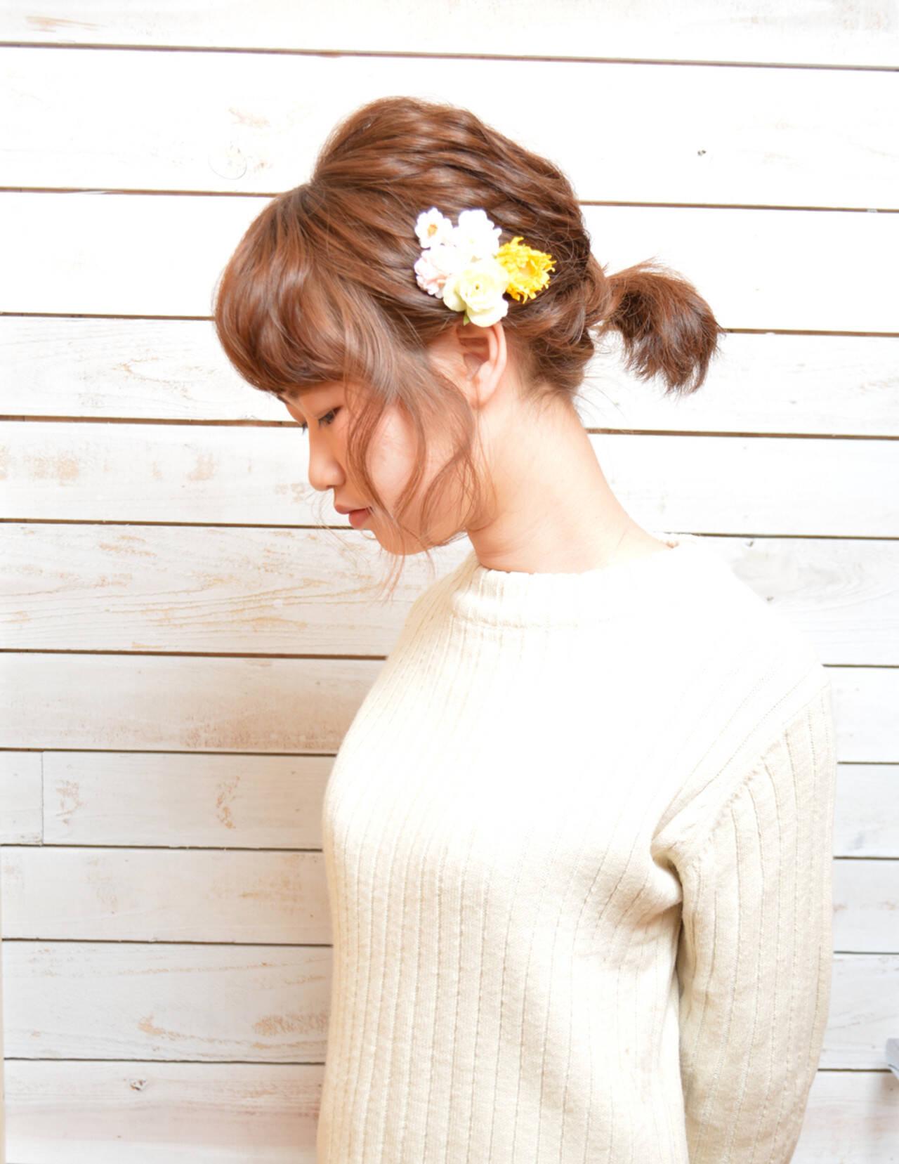 抜け感 ポニーテール ショート パーティヘアスタイルや髪型の写真・画像