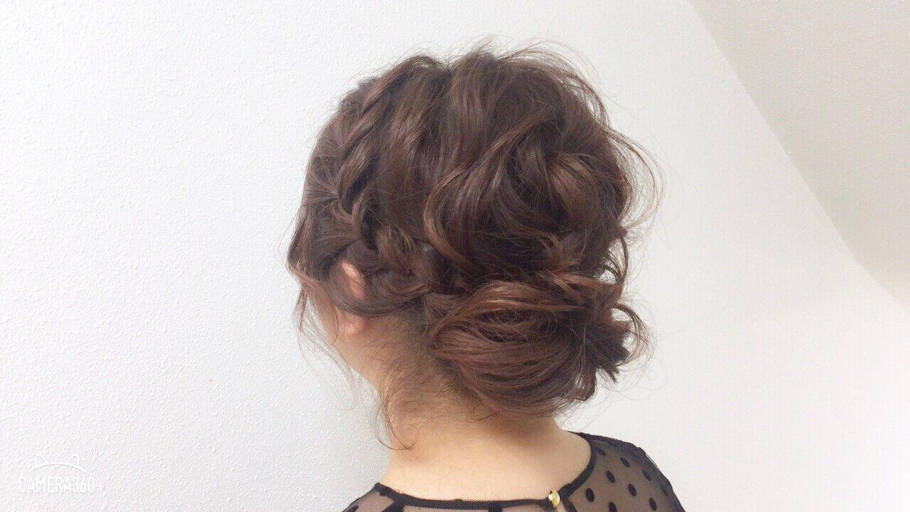 ヘアアレンジ パーティ フェミニン 編み込みヘアスタイルや髪型の写真・画像