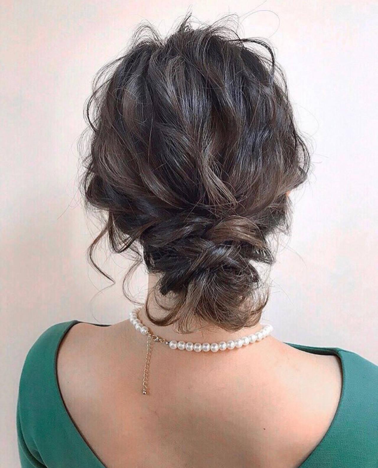 黒髪 簡単ヘアアレンジ 結婚式 ボブヘアスタイルや髪型の写真・画像