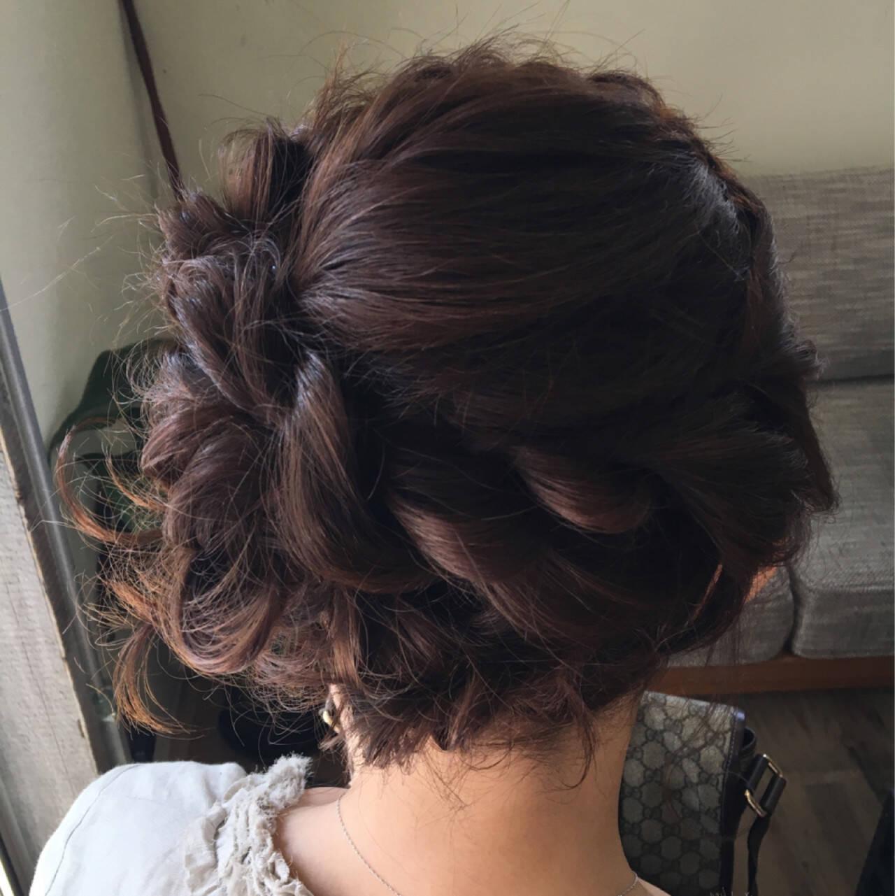 三つ編み ねじり 結婚式 ヘアアレンジヘアスタイルや髪型の写真・画像
