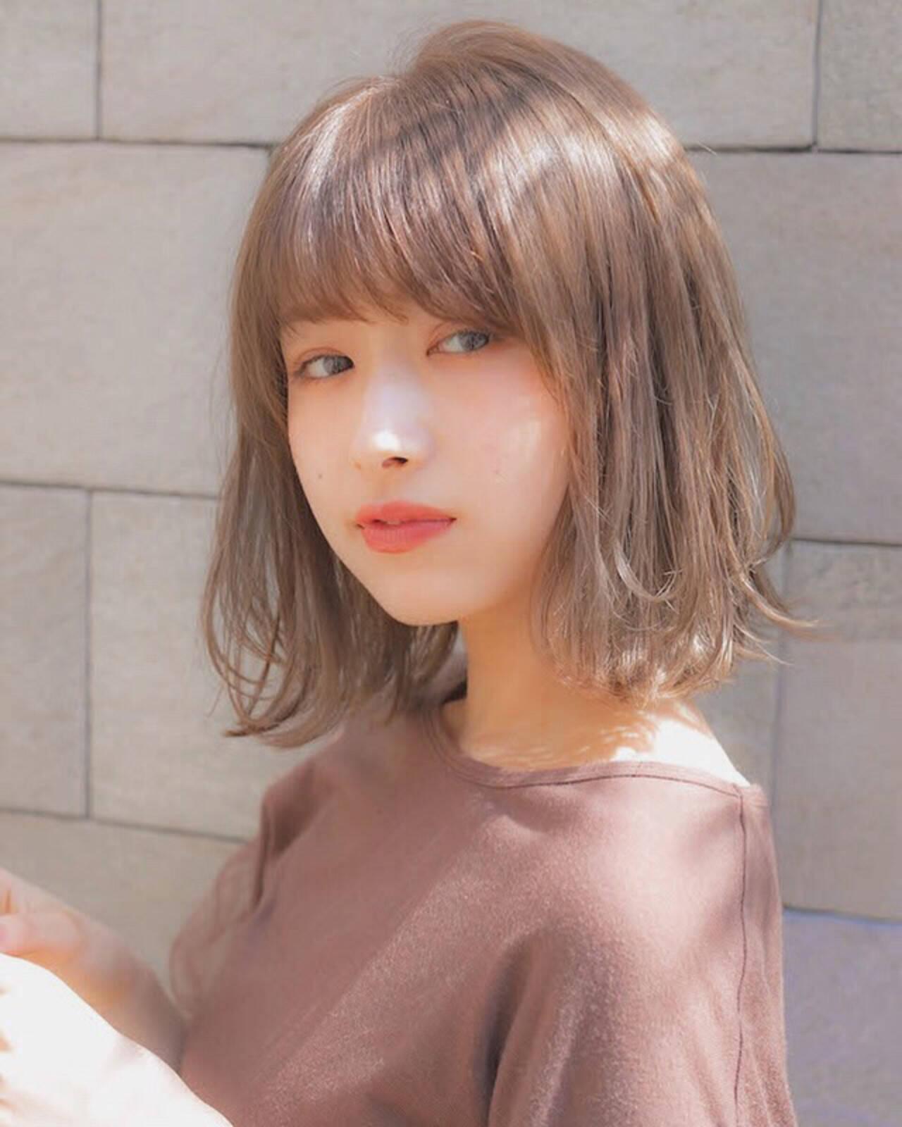 パーマ アンニュイほつれヘア ボブ 前髪ヘアスタイルや髪型の写真・画像