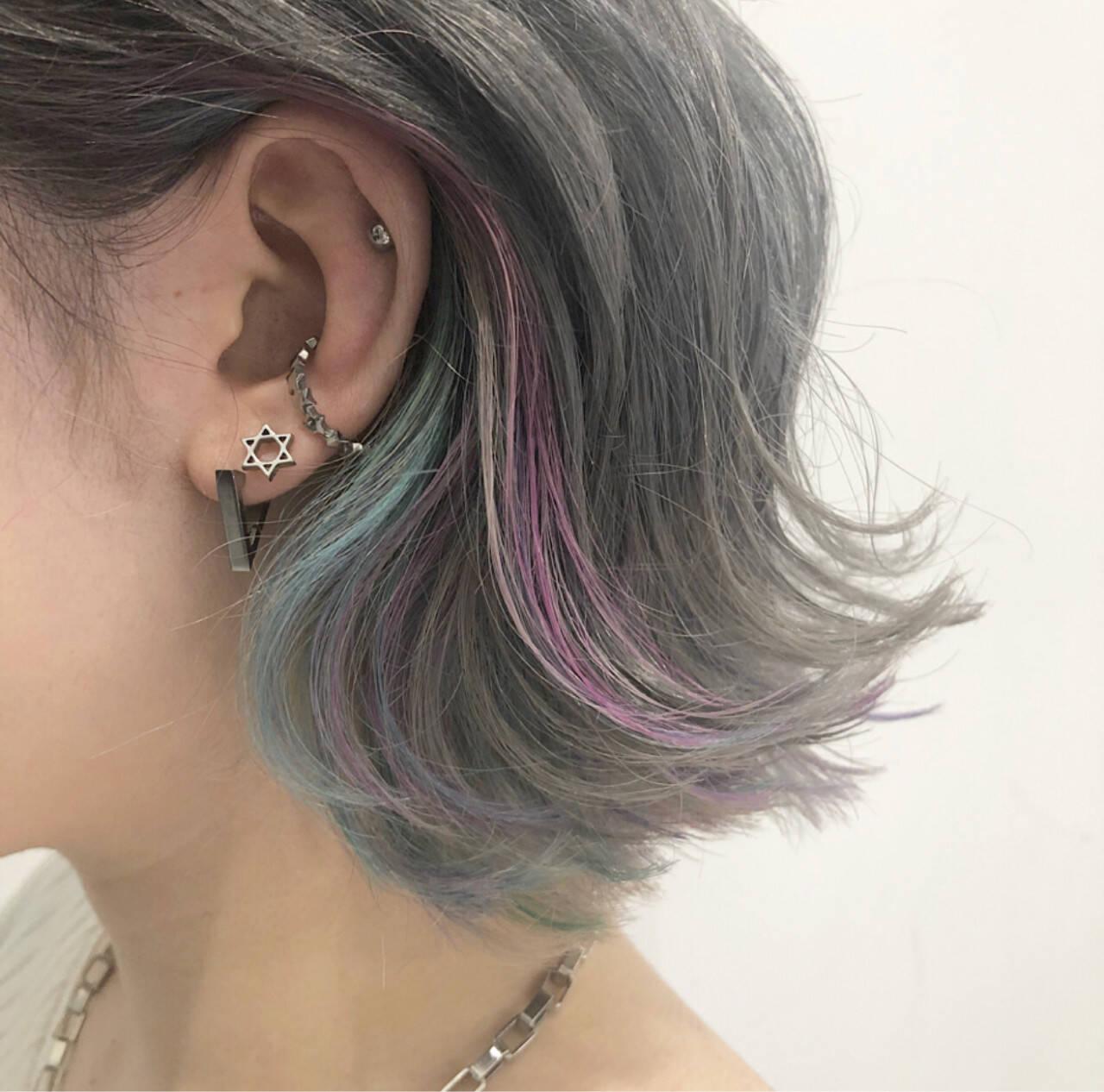 ストリート ボブ 外国人風カラー インナーカラーヘアスタイルや髪型の写真・画像