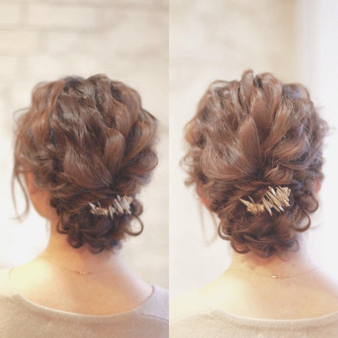 大人かわいい ヘアアレンジ セミロング 結婚式ヘアスタイルや髪型の写真・画像