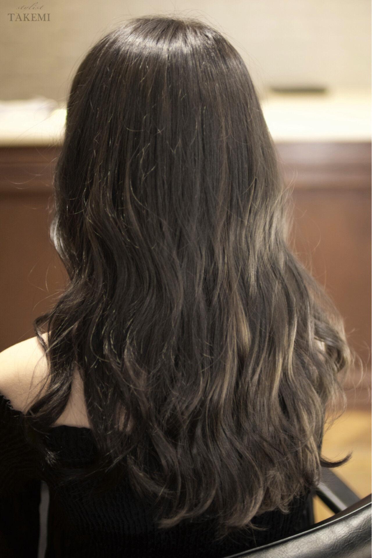 バレイヤージュ 外国人風 セミロング ハイライトヘアスタイルや髪型の写真・画像
