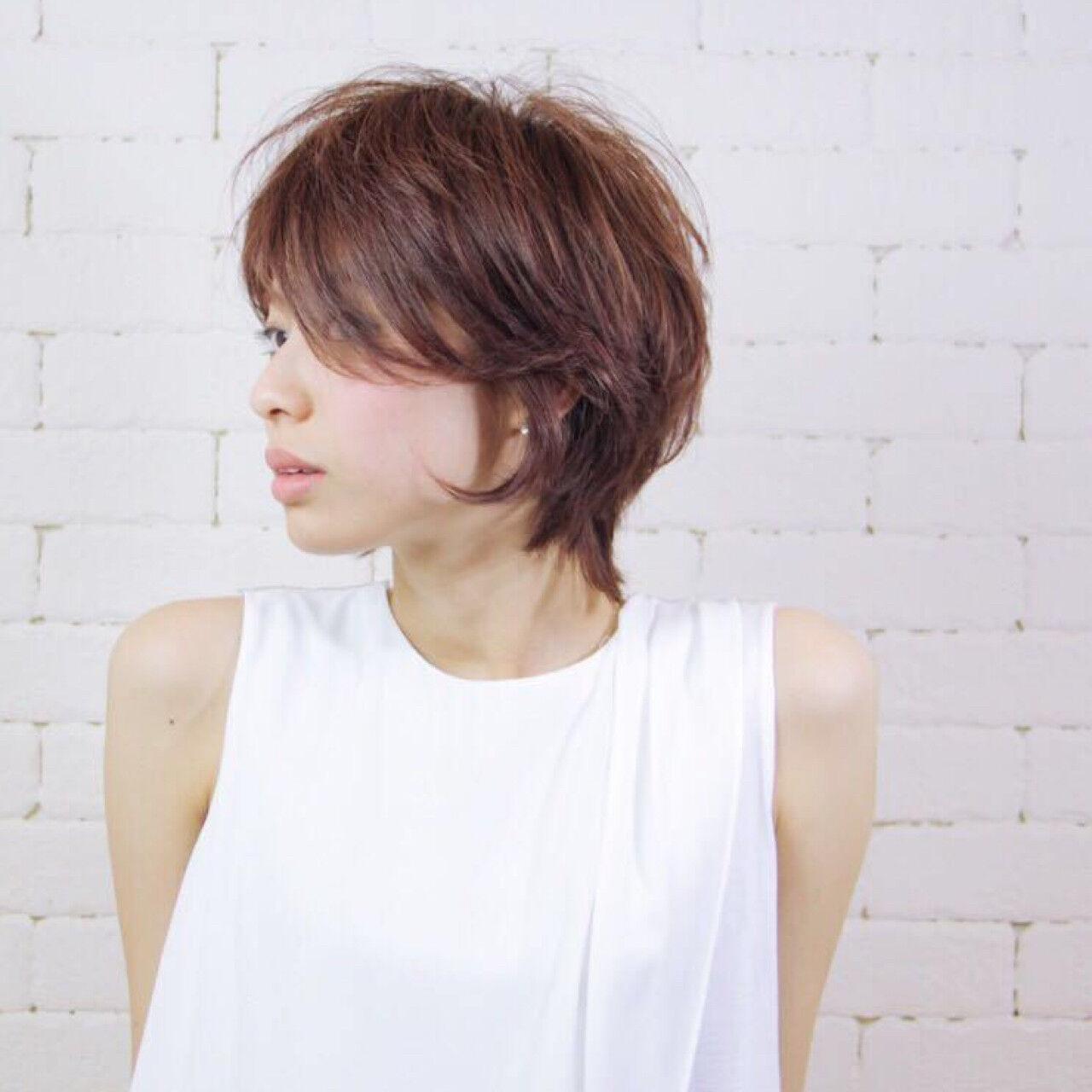 外ハネ ショート ナチュラル 透明感ヘアスタイルや髪型の写真・画像