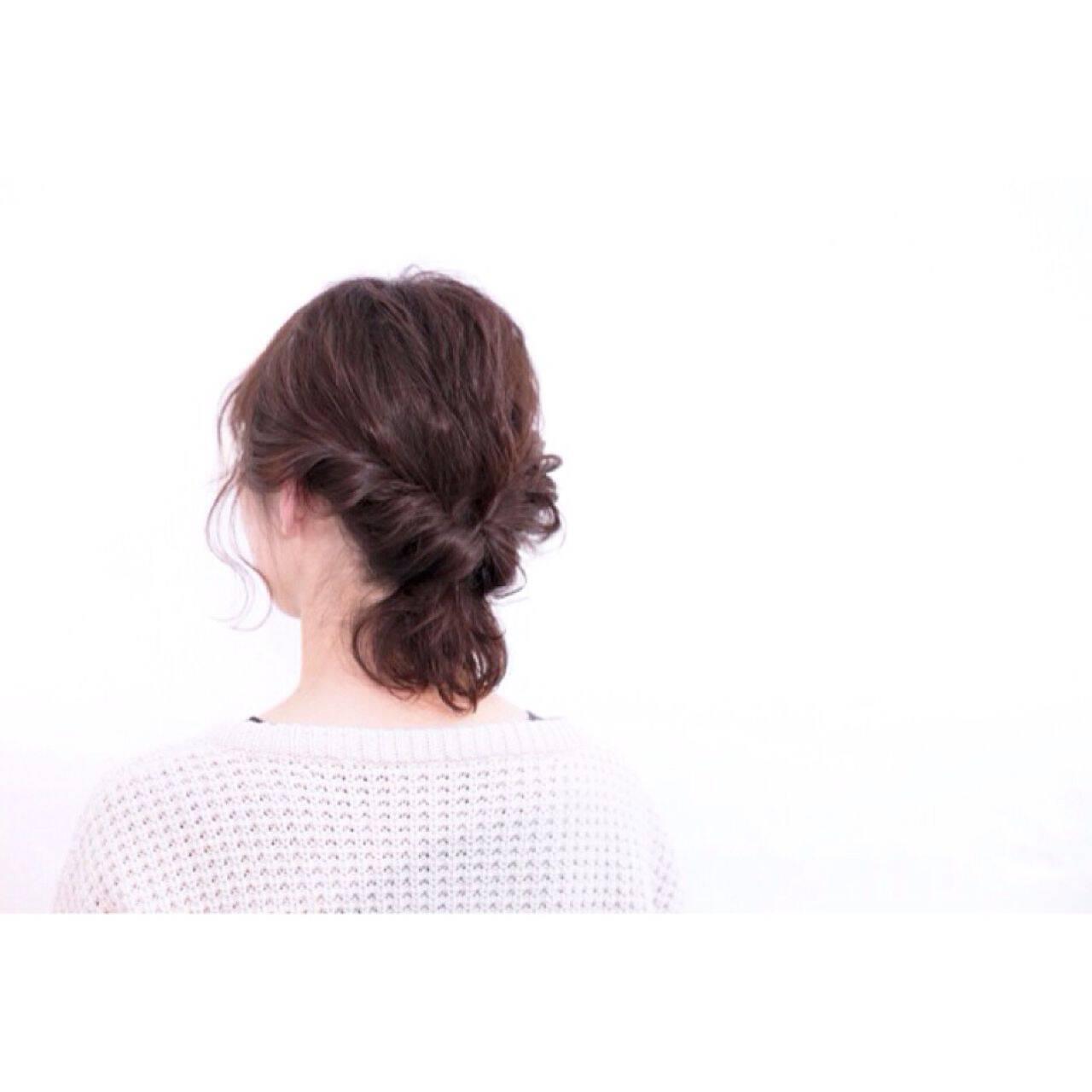 ナチュラル ヘアアレンジ ボブ 暗髪ヘアスタイルや髪型の写真・画像