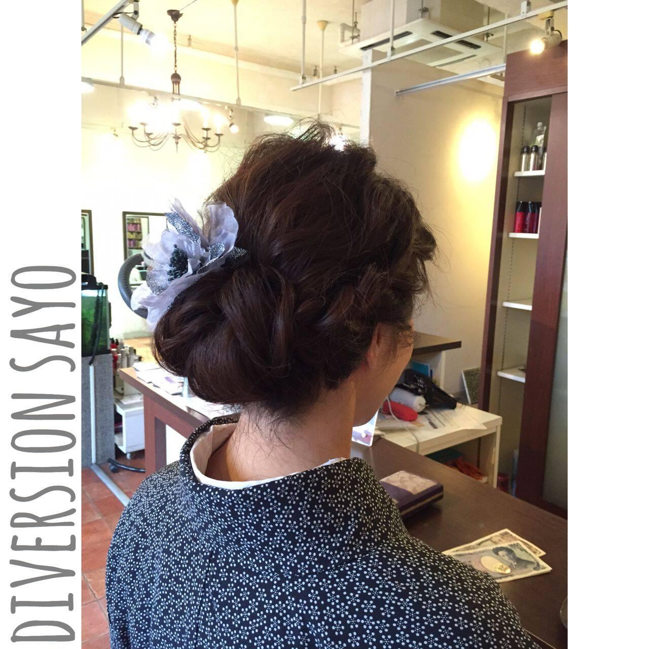 波ウェーブ ギブソンタック ヘアアレンジ ラフヘアスタイルや髪型の写真・画像