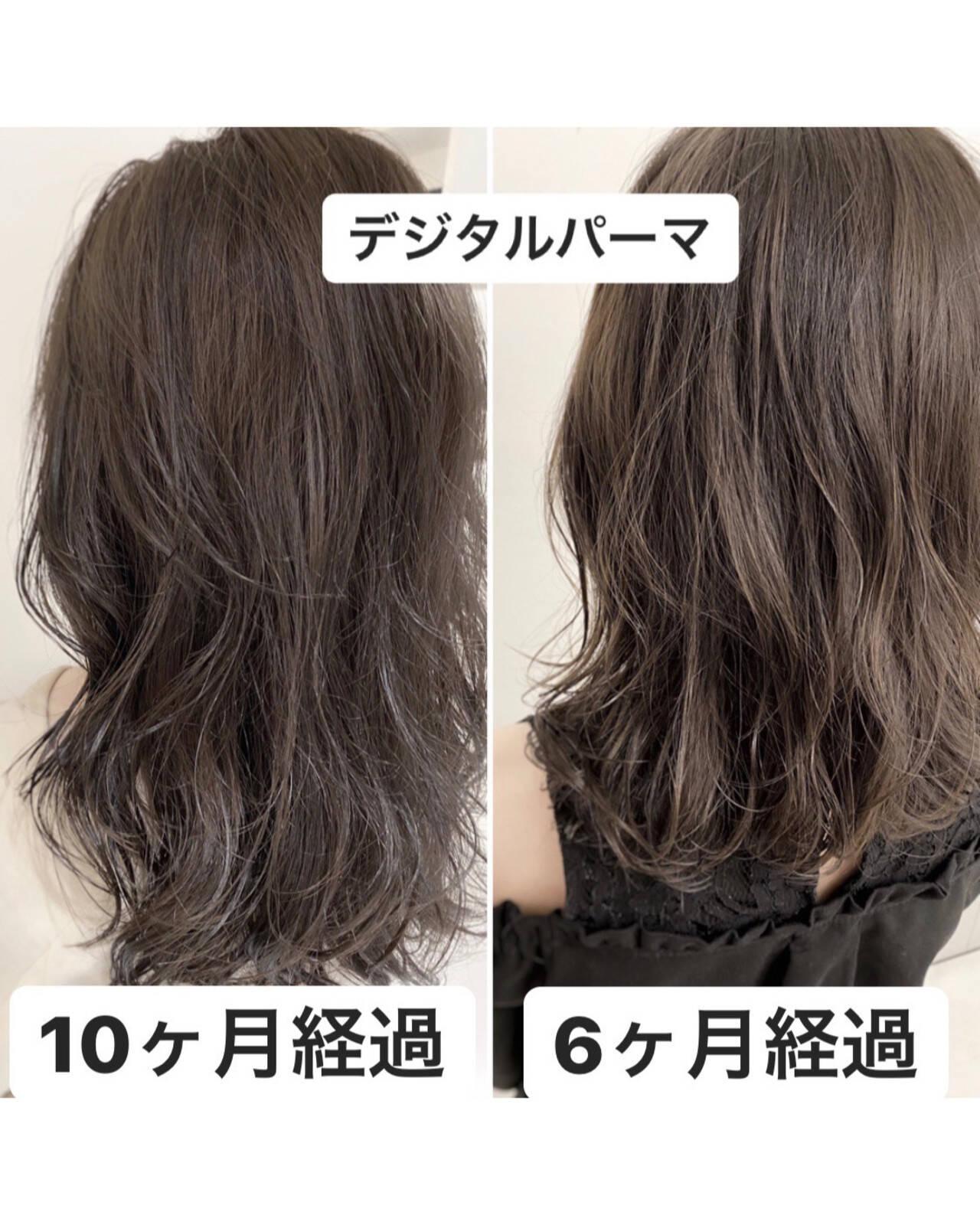 セミロング イルミナカラー 透明感カラー 外国人風カラーヘアスタイルや髪型の写真・画像