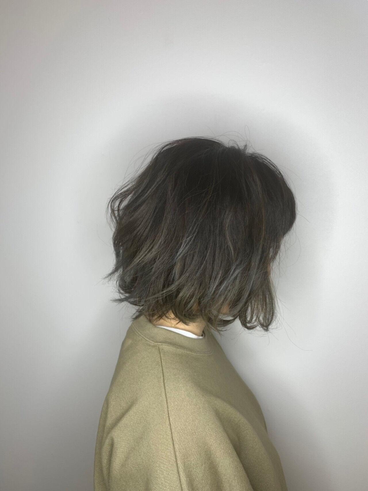 バイヤレージュ ゆるふわ ボブ アウトドアヘアスタイルや髪型の写真・画像