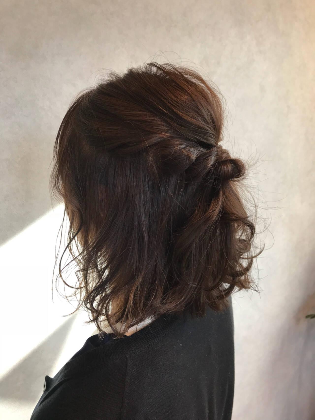 透明感 簡単ヘアアレンジ ハーフアップ ブラウンベージュヘアスタイルや髪型の写真・画像