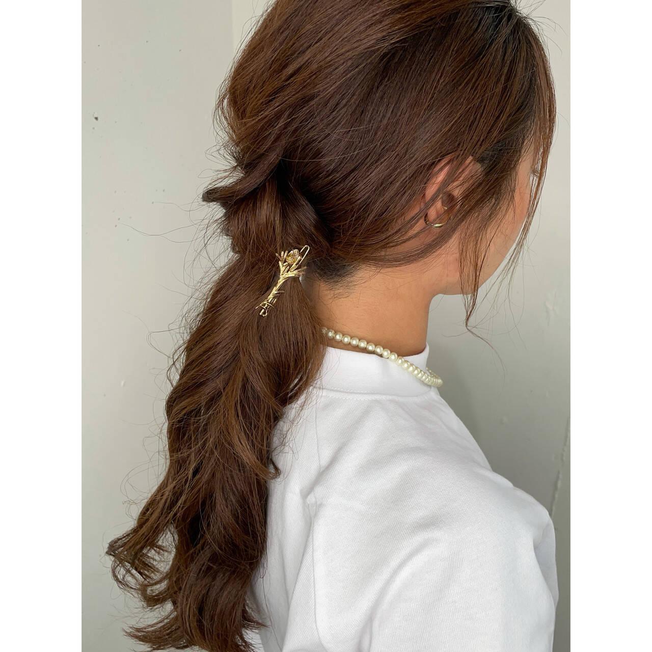 ロング ナチュラル 可愛い セルフヘアアレンジヘアスタイルや髪型の写真・画像