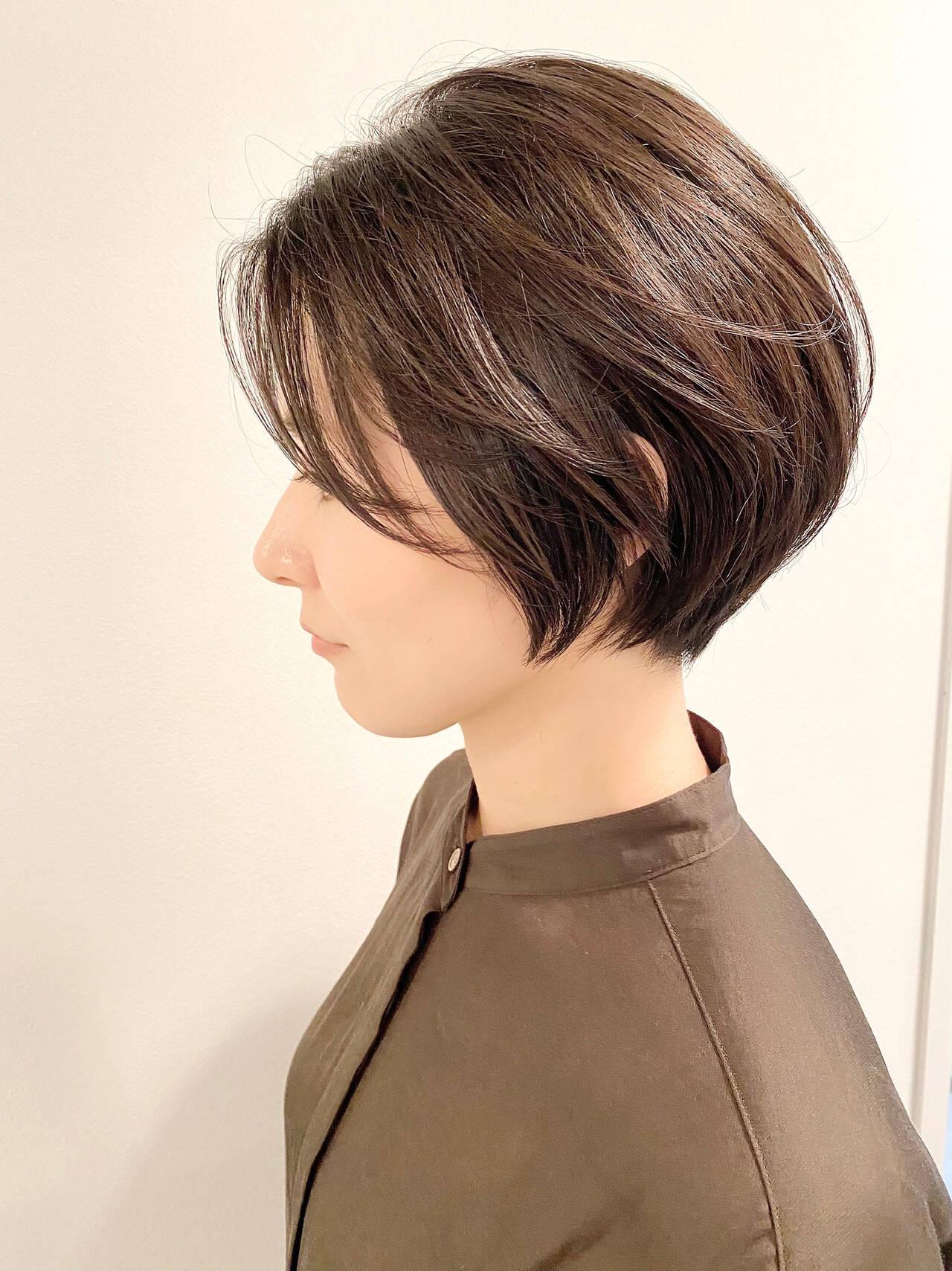 ショートヘア ショート デート ナチュラルヘアスタイルや髪型の写真・画像