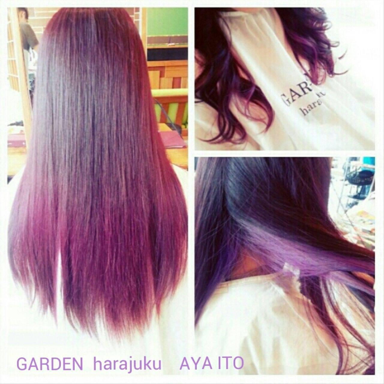 ピンク ストリート グラデーションカラー レッドヘアスタイルや髪型の写真・画像