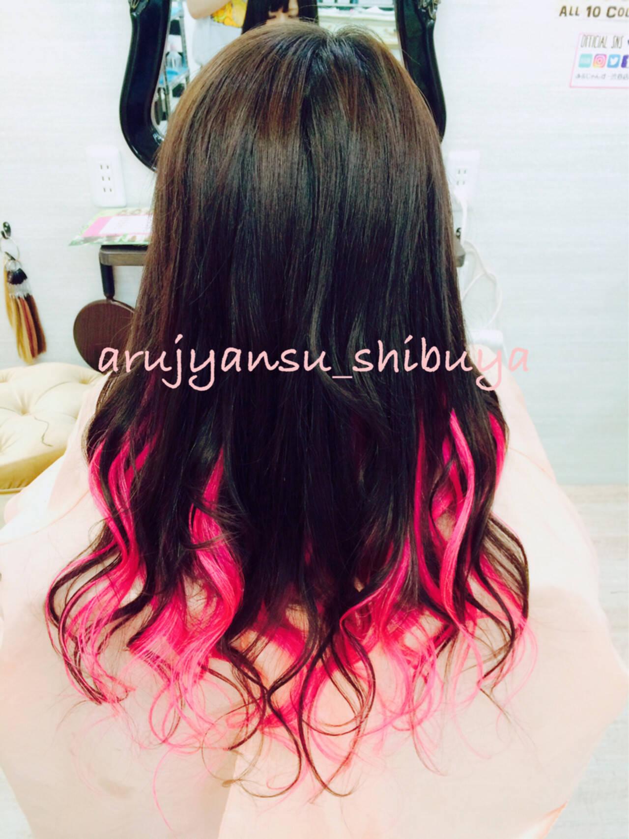 レッド ガーリー ピンク エクステヘアスタイルや髪型の写真・画像