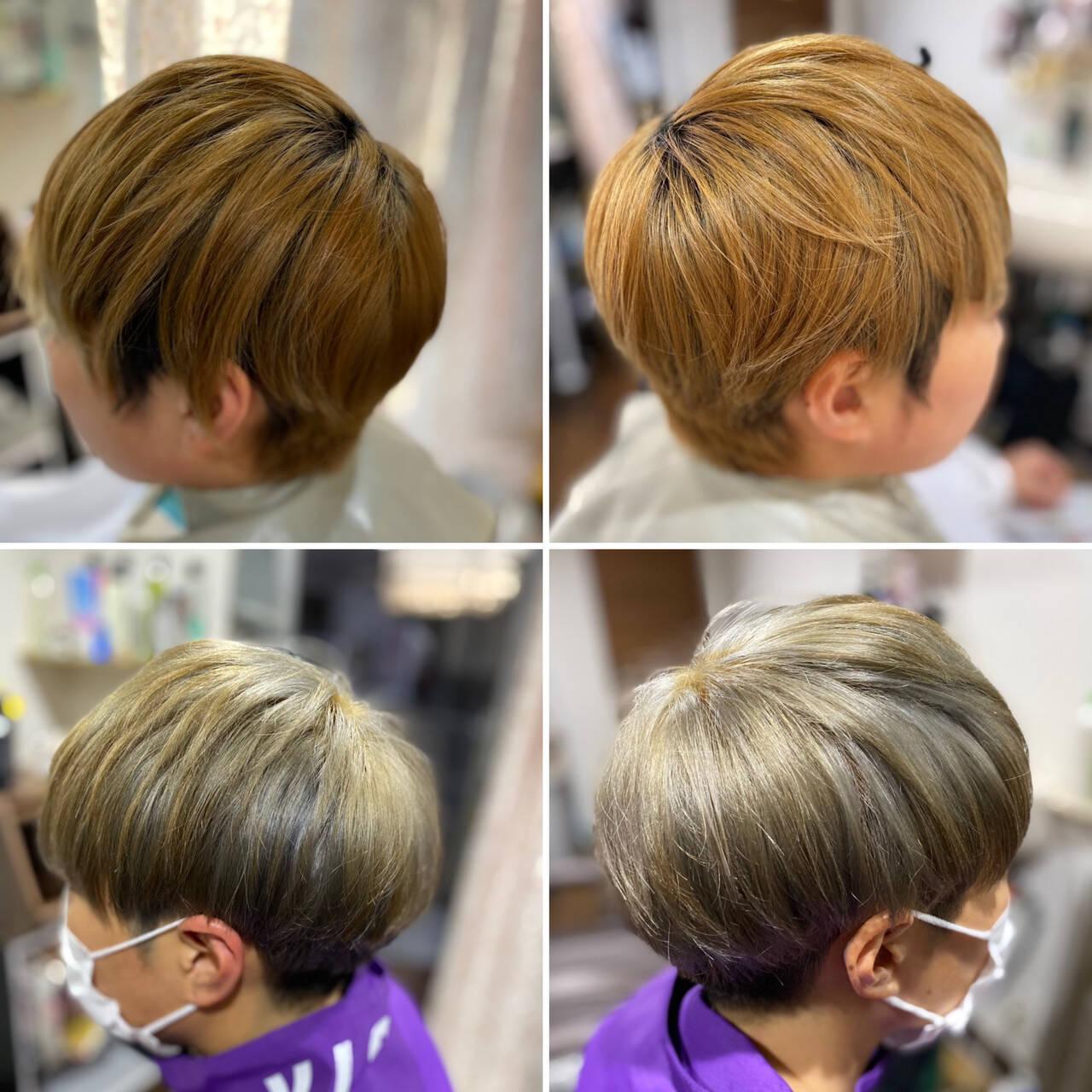 メンズカット メンズショート ストリート オリーブグレージュヘアスタイルや髪型の写真・画像