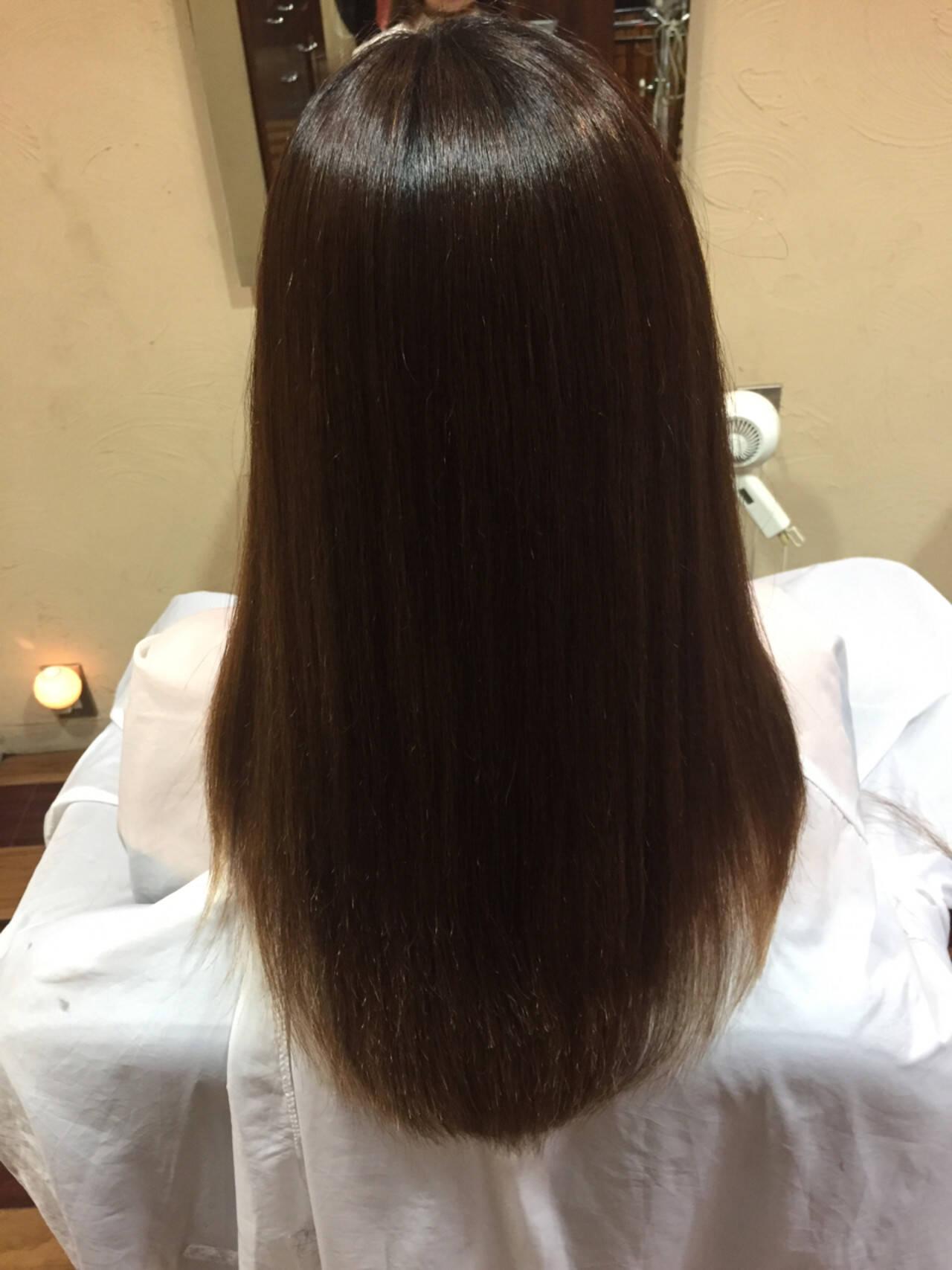 ナチュラル ストレート パーマ 艶髪ヘアスタイルや髪型の写真・画像