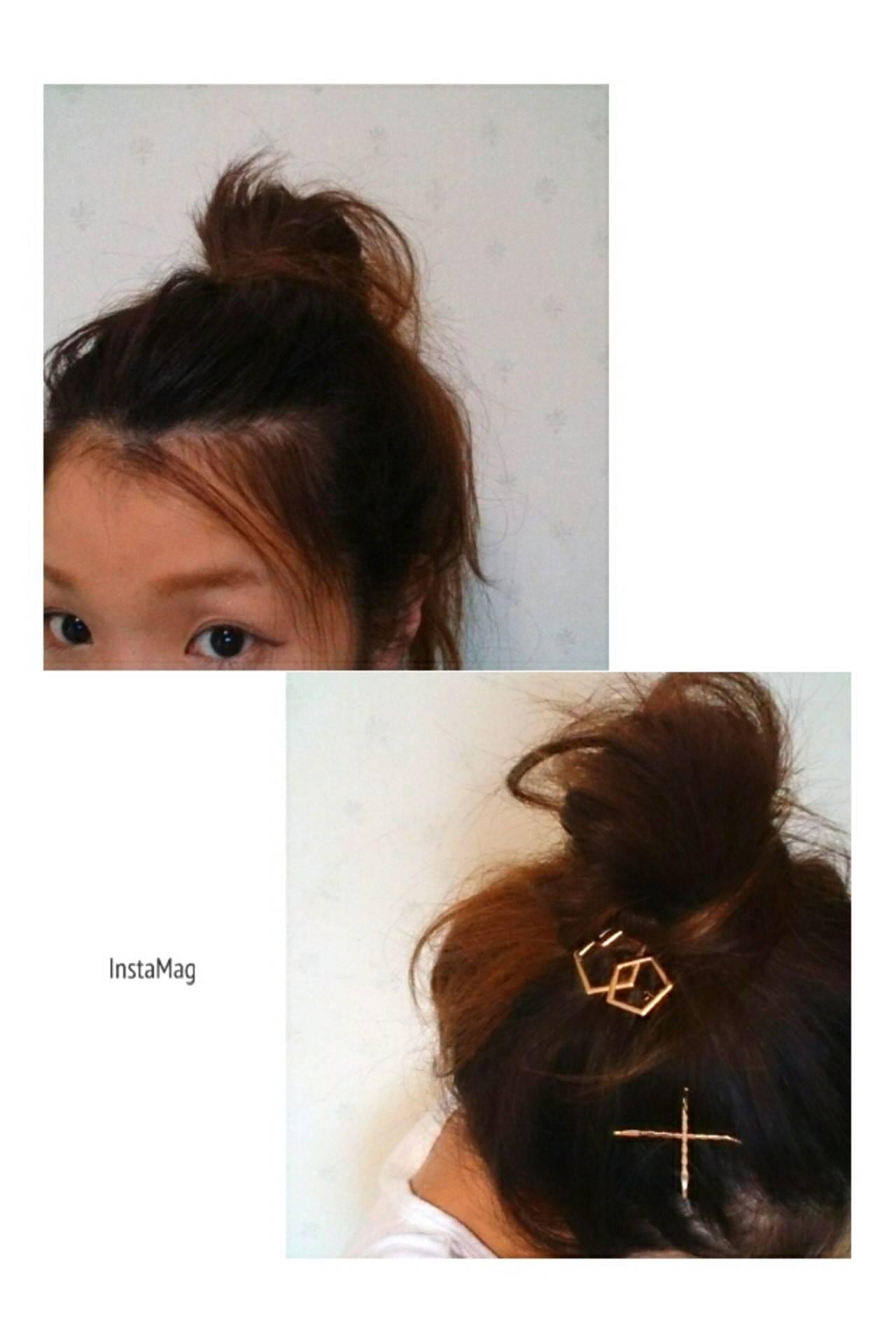 簡単ヘアアレンジ ミディアム メッシーバン ママヘアスタイルや髪型の写真・画像