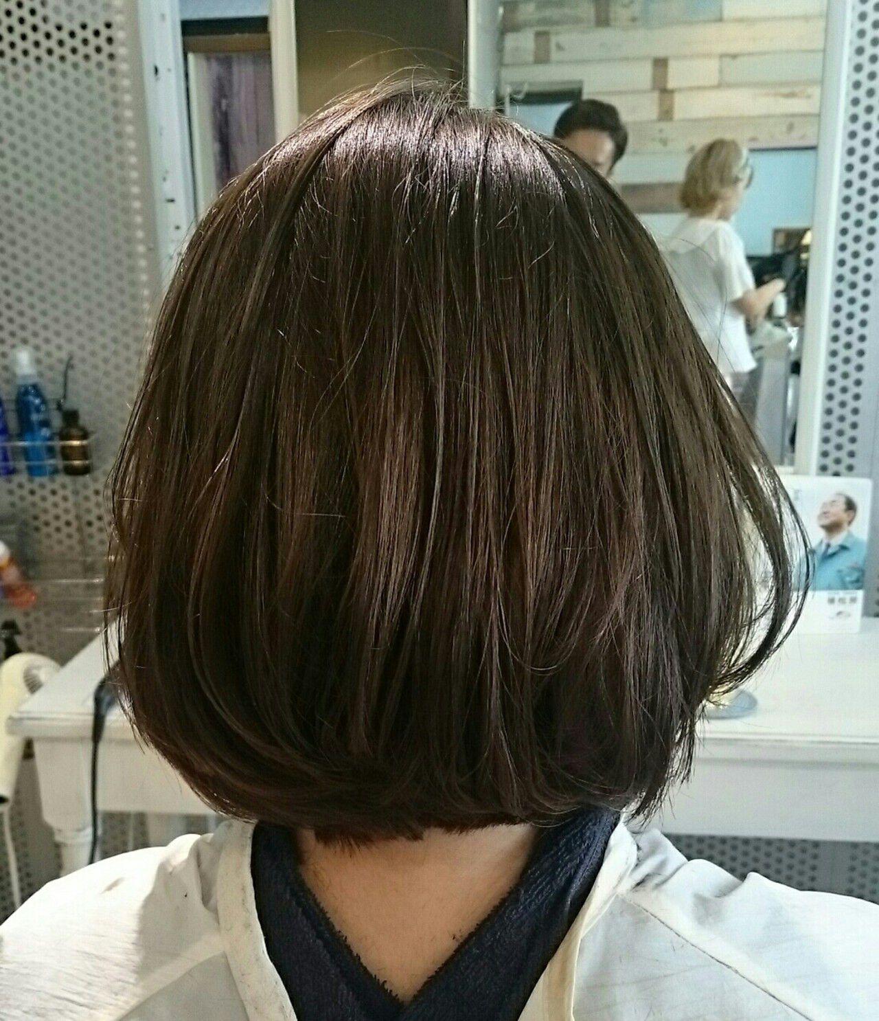 アッシュ ボブ ナチュラル グラデーションカラーヘアスタイルや髪型の写真・画像