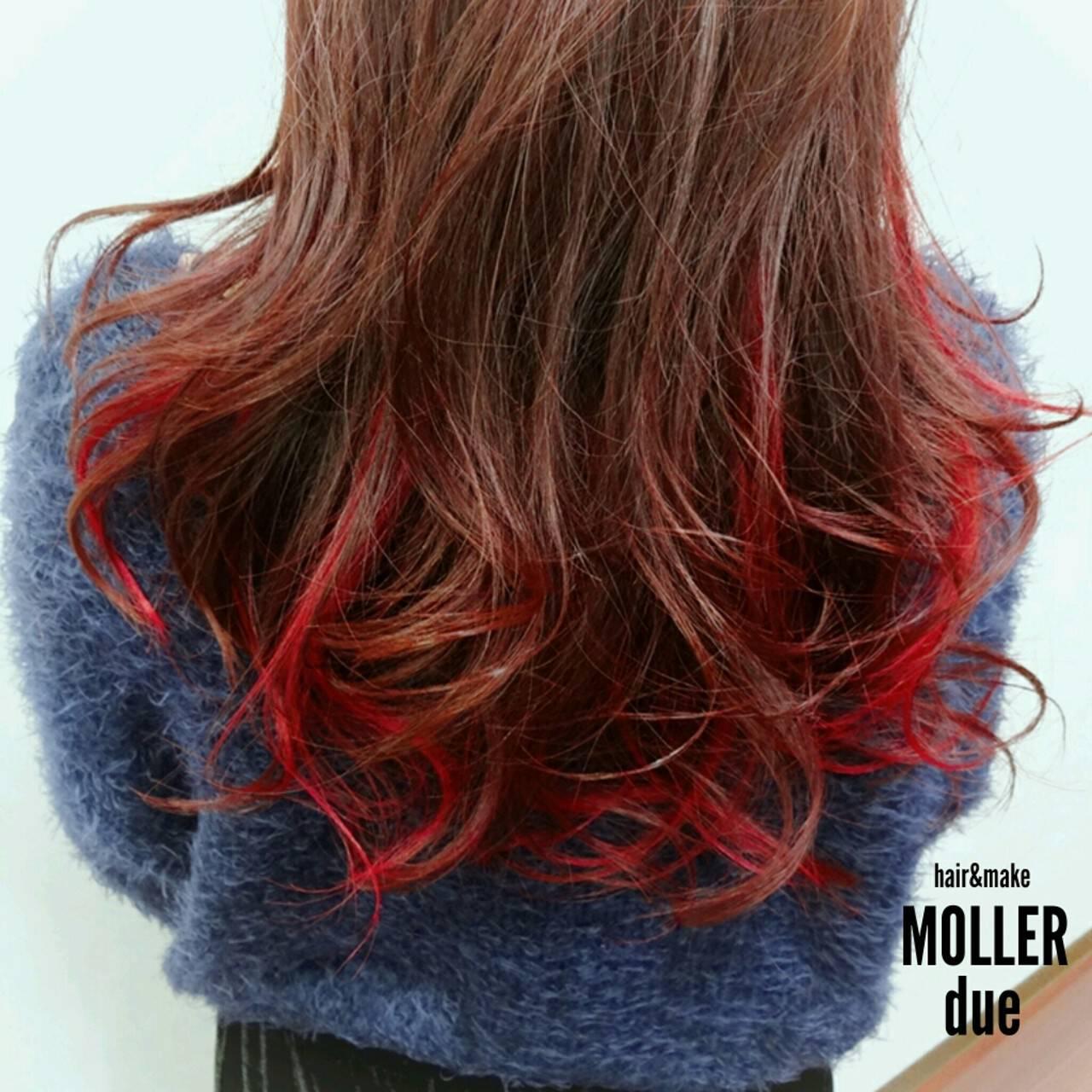 ロング グラデーションカラー ストリート ハイライトヘアスタイルや髪型の写真・画像