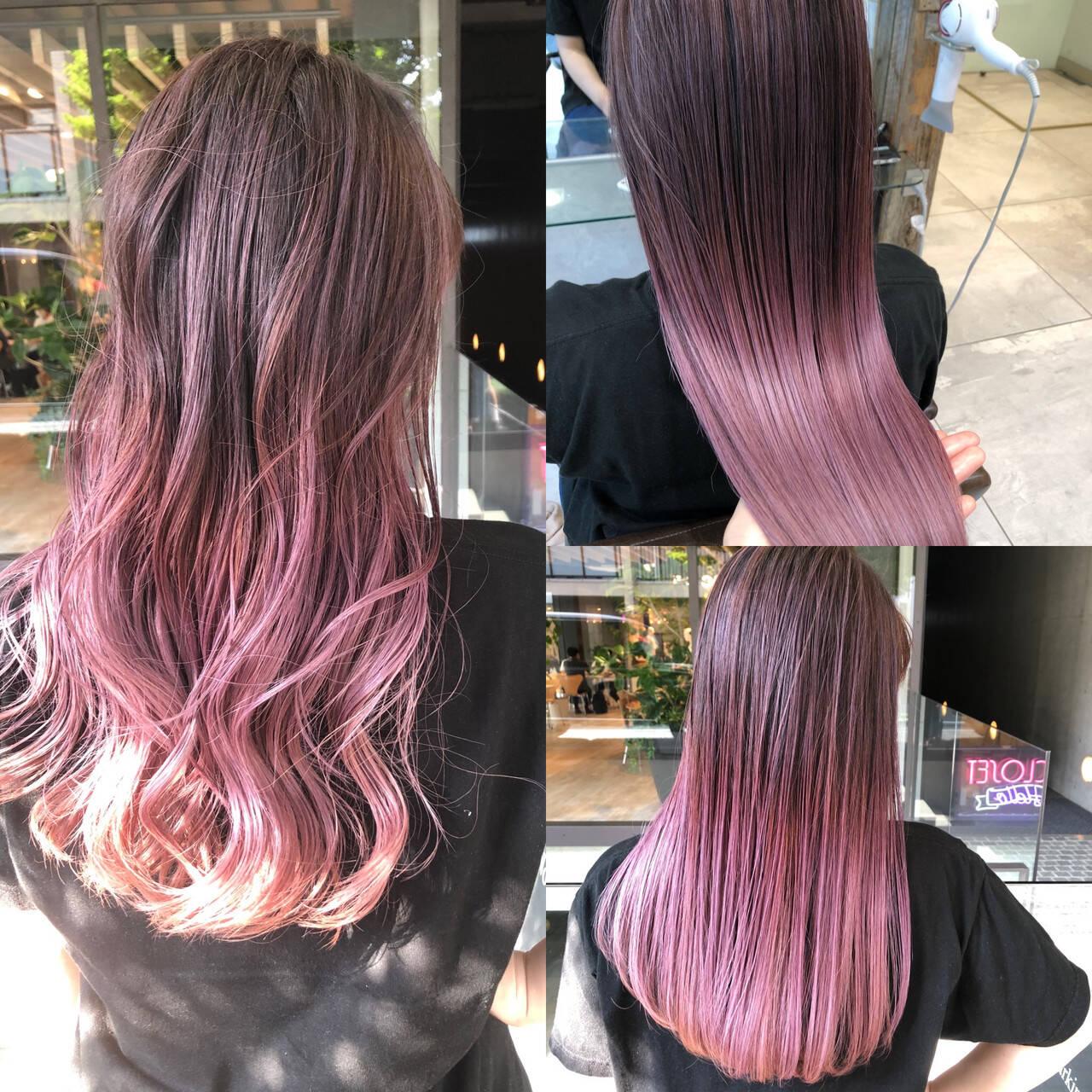 ロング ピンクアッシュ ピンクパープル ハイライトヘアスタイルや髪型の写真・画像