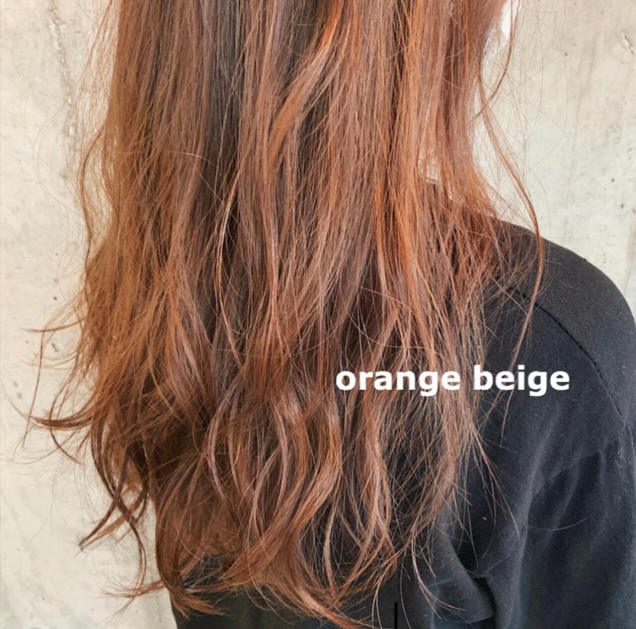 ブリーチカラー ロング ナチュラル オレンジベージュヘアスタイルや髪型の写真・画像