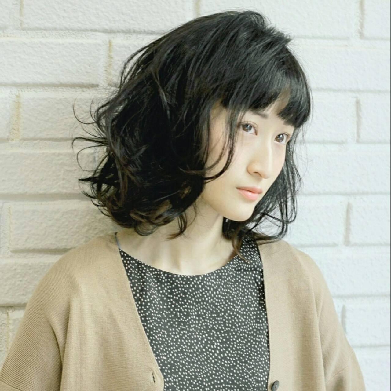 前髪あり ニュアンス ナチュラル ボブヘアスタイルや髪型の写真・画像