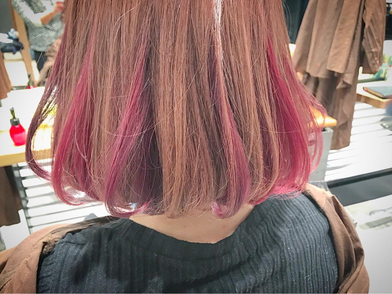 ガーリー ボブ カラーバター ニュアンスヘアスタイルや髪型の写真・画像