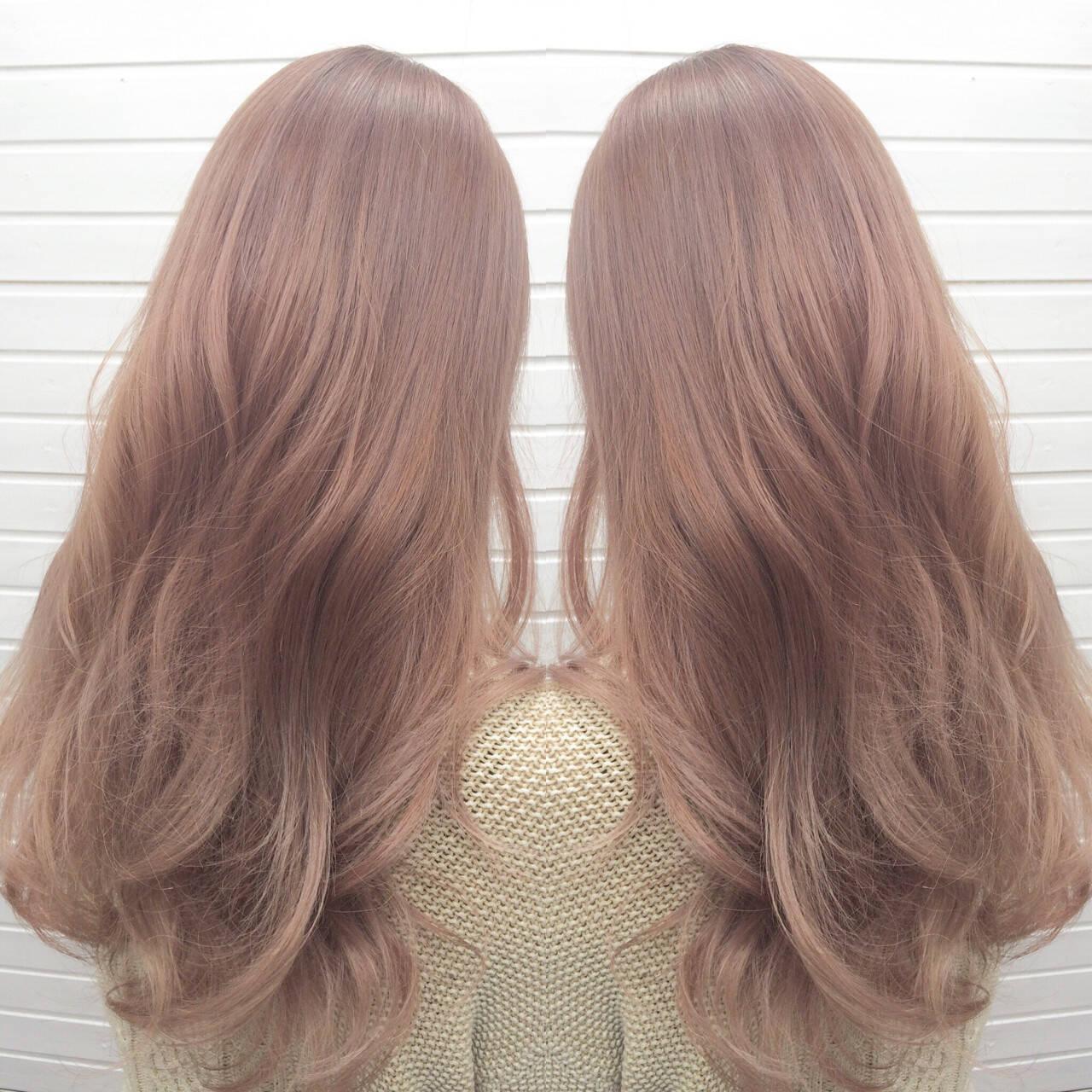 ピンク グラデーションカラー ロング ピンクアッシュヘアスタイルや髪型の写真・画像