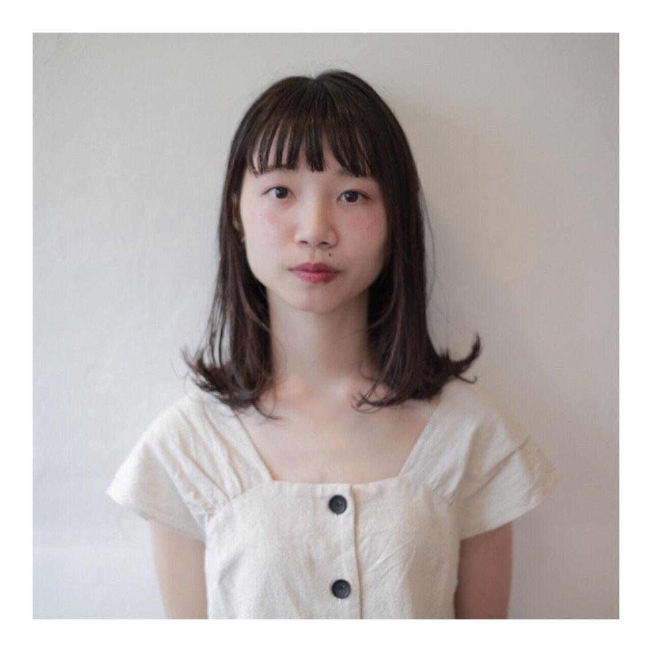 ナチュラル 黒髪 透明感 ウェットヘアヘアスタイルや髪型の写真・画像