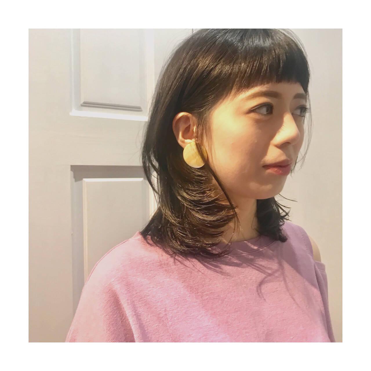 外ハネ マッシュ ミディアム 色気ヘアスタイルや髪型の写真・画像