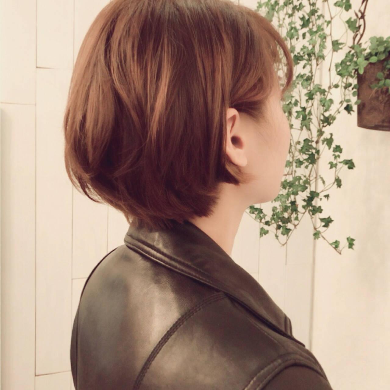 ショート 縮毛矯正 ストレート パーマヘアスタイルや髪型の写真・画像