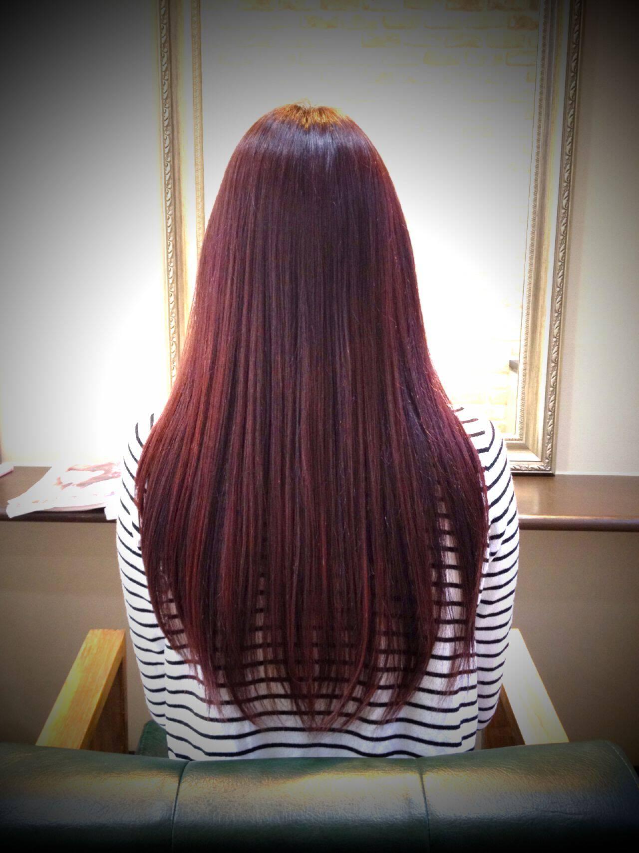 レッド ピンク 大人かわいい ナチュラルヘアスタイルや髪型の写真・画像