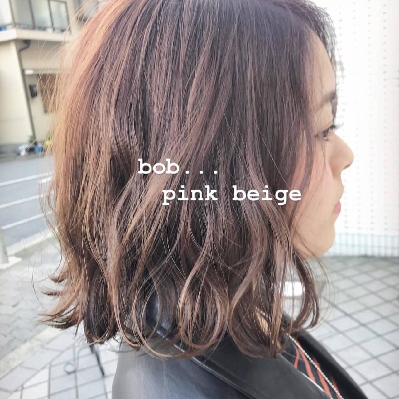 モテボブ 切りっぱなしボブ ボブ ピンクヘアスタイルや髪型の写真・画像