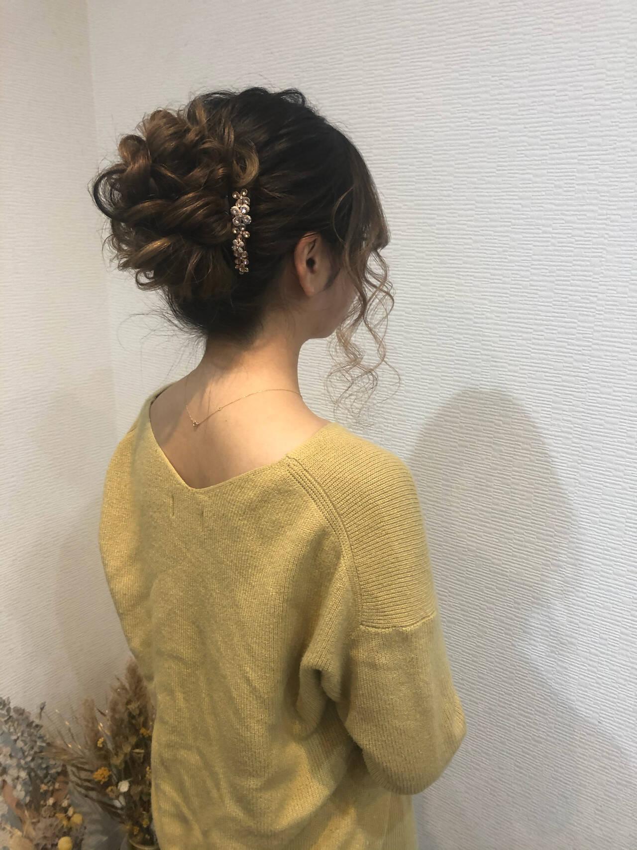 ロング アップスタイル ヘアアレンジ フェミニンヘアスタイルや髪型の写真・画像