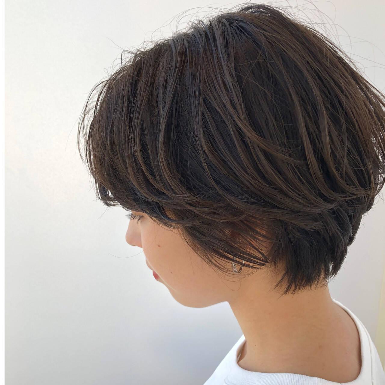 暗髪 大人かわいい デート ショートヘアヘアスタイルや髪型の写真・画像