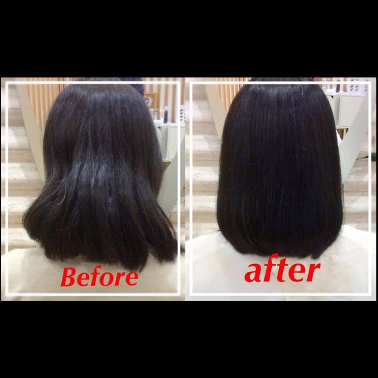 ヘアアレンジ 縮毛矯正 時短 ナチュラルヘアスタイルや髪型の写真・画像