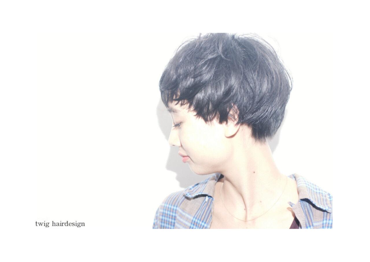 ショート 黒髪 ストリート ベリーショートヘアスタイルや髪型の写真・画像