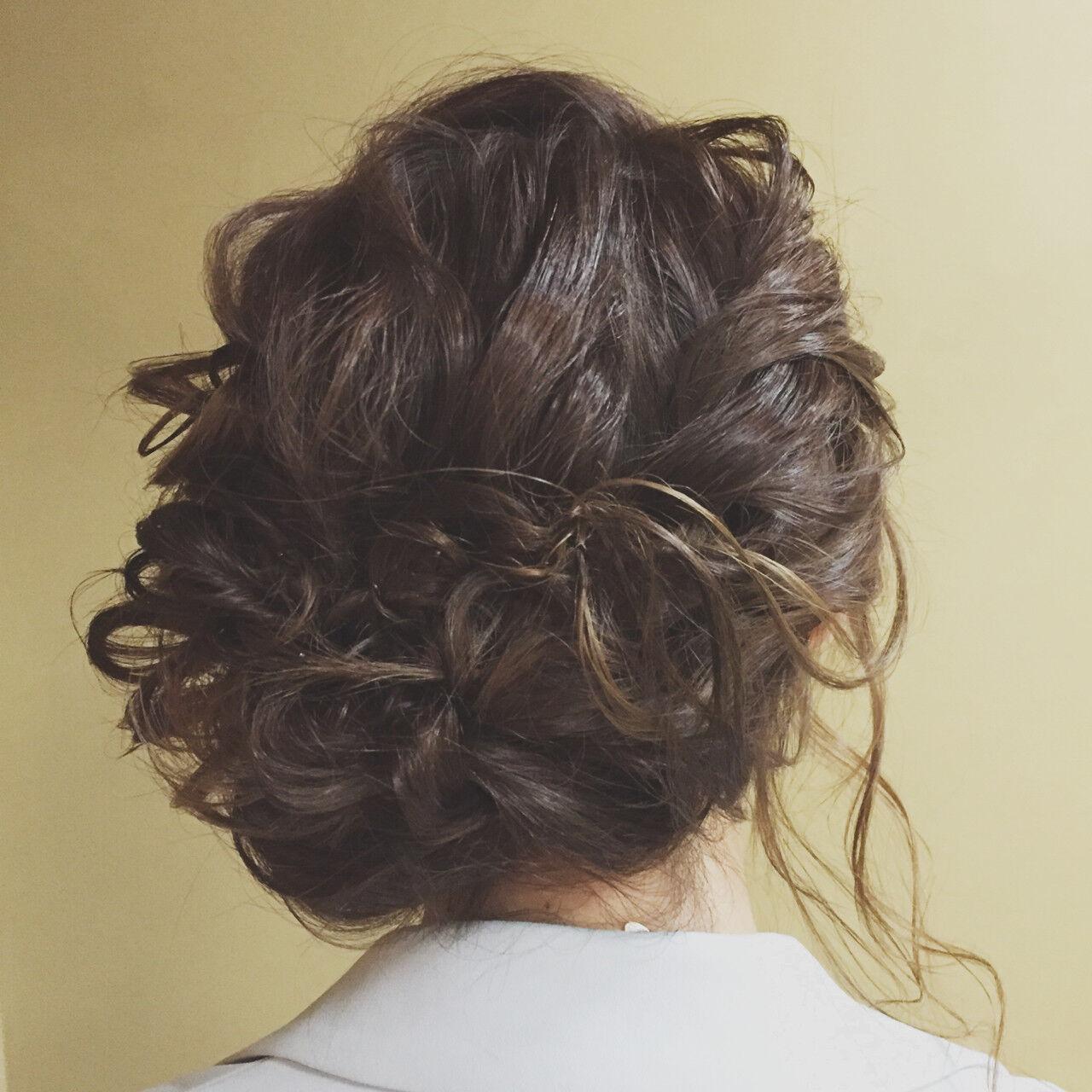 セミロング ヘアアレンジ 大人かわいい アップスタイルヘアスタイルや髪型の写真・画像